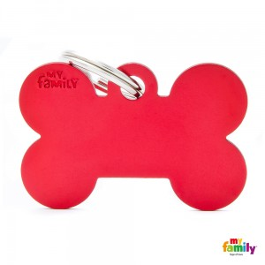 Hundemarke My Family Adressanhänger mit Gravur BONE RED BIG