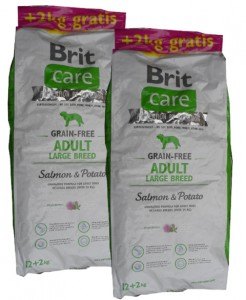 2x12kg + 4kg GRATIS Brit Care Grain-free Adult Large Breed Salmon & Potato