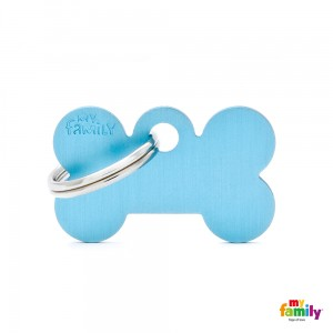 Hundemarke My Family Adressanhänger mit Gravur BONE LIGHT BLUE SMALL