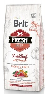 Brit Fresh Puppy & Junior LARGE, Beef & Pumpkin, Bones&Joints Hundefutter