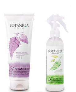 Botaniqa 250ml Show Line Harsh & Shiny Coat Shampoo + Botaniqa 250 ml Show Line Detangling Coat Milk Pflegespray gegen Verfilzung