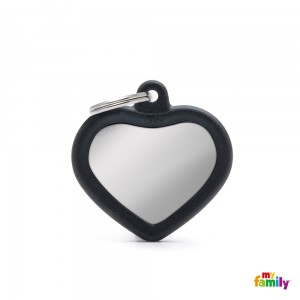 """STILLE"" Hundemarke My Family Adressanhänger mit Gravur HEART CHROME  BLACK"