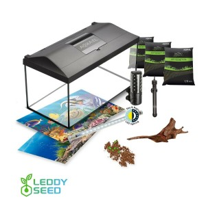 AQUAEL Aquarium Set LEDDY LED DAY & NIGHT komplett inkl. Abdeckung, Filter, Heizer, Zierwurzel, Aqua Flora Aquarium Substrat, Samen