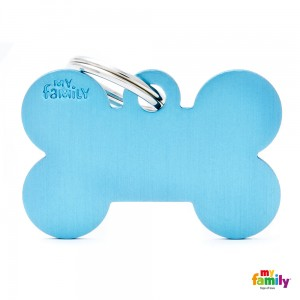 Hundemarke My Family Adressanhänger mit Gravur BONE LIGHT BLUE BIG