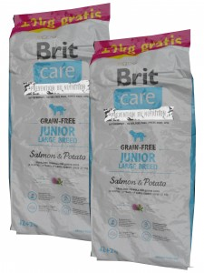 2x12 + 4kg GRATIS Brit Care Grain-free Junior Large Breed Salmon & Potato